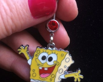 Cute SPONGEBOB Sponge Bob SquarePants  Square Pants Jumping for Joy Belly Ring