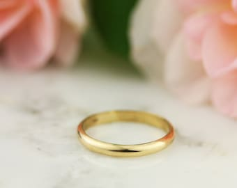 2.5 mm 14K / 18k Yellow Gold Half Round Wedding Band Ring