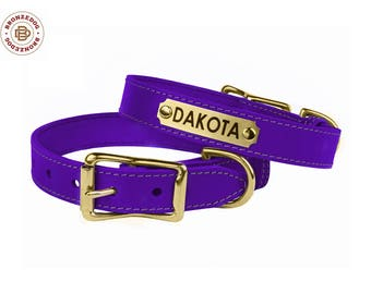 Classic Dog Collar Leather Personalized Dog ID Tag Brass Buckle Purple