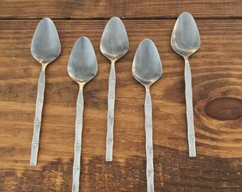 Set of 5 Vintage Bamboo Lifetime Cutlery Stainless Japan Soup SPoons