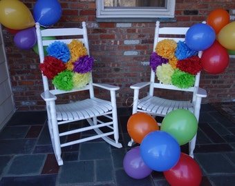 7 PuffScape CONNECTING DIY Tissue Paper Flower Pom Puffs Parachute Rainbow Pinwheel Theme Circus Carnival Toddler Birthday Sesame Wedding