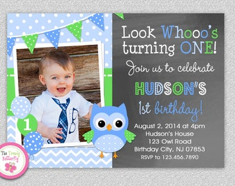 Owl Birthday Invitation Girls Owl Invitations 1st