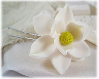 Magnolia Hair Clip Pin - Magnolia Hair Flower