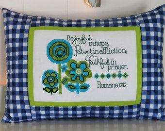 Cross Stitch Pattern - Modern Flowers Bible Verse - Instant Download PDF Pattern