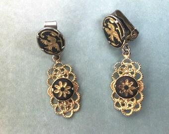Vintage Victorian Earrings, Filagree Earrings, Gold Clip Earrings, Enamel Earrings, Dove Earrings, Delicate Earrings, Gold Filagree