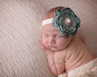 Satin flower headband, sage green and ivory headband, newborn headband, baby headband, headband, ivory headband, newborn photo prop, prop