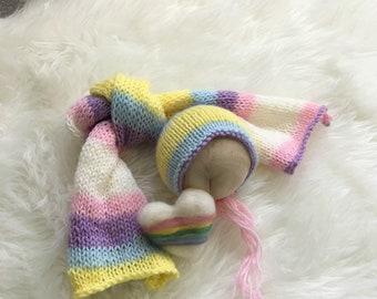 Pastel Rainbow Wrap and Heart Set, Photography Prop, Rainbow Baby, Photo Session, Wrap Set, Newborn Prop