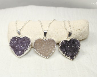SALE Heart Druzy Necklace, Druzy Jewelry, Druzy Pendant, Sterling Silver Oxidized Chain, Valentine's Day, CHOOSE YOUR Druzy