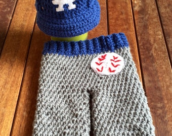 LA Dodgers Baby - Baseball Cap Pants Set - Newborn Photo Prop - Bring Baby Home Set - Baby Baseball Set - Crochet