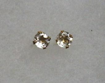 5mm White Topaz Gemstones in 10k Yellow Gold Stud Earrings December Birthstone