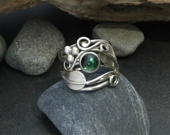 Green tourmaline leaf ring with leaves and sterling silver vines branches tendrils, individually handcrafted size 6 & 3/4 Elfin Works design