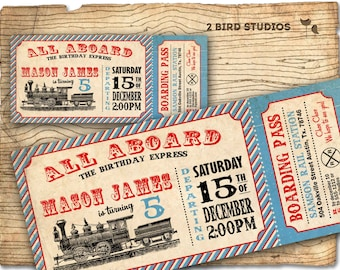 Train invitation - Train ticket birthday party invitation- Train party invite- DIY printable invitation