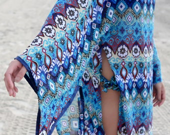 Geisha Inspired Swim Suit Cover Up Slit Dress
