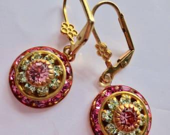 Art Deco earrings Art Nouveau Victorian earrings green rose crystal drop vintage style dainty short drop Edwardian wedding
