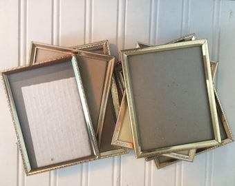 Gold picture frames, vintage frames, gold photo frame, with Glass,  Mid-century, hollywood regency, wedding, vintage metal frames, 126