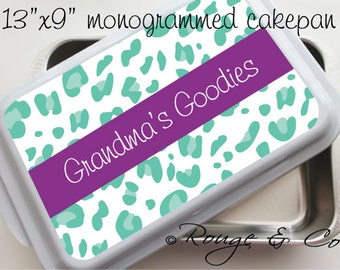 """CHEETAH personalized cake pan - 13""""x9"""" stainless steel with white lid, monogrammed cake pan, casserole dish, wedding gift, house warming"""