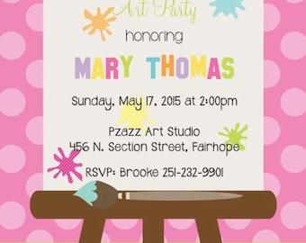 Polka Dot and Stripe Splatter Canvas Paint Party Invitation