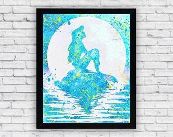 Ariel The Little Mermaid Watercolor print, Printable Wall Art, wall decor, home decor poster