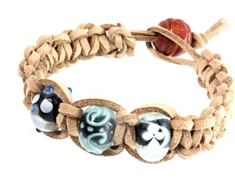 Unisex Beach Theme Macrame Bracelet, Lampwork and Macrame Bracelet, Gift for Dad, Father's Day