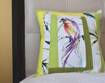 Unique, Quilted, Colorful, Decorative pillow case with beautiful Bird print