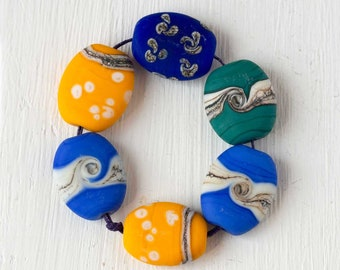 Handmade Glass Beads, Blue Yellow and Teal Lampwork Bead Set