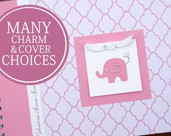 Baby Memory Book   Baby Girl Book   Baby Album Photo Book & Journal   Personalized Baby Book   Pink Lattice with Elephant   Circus   Safari