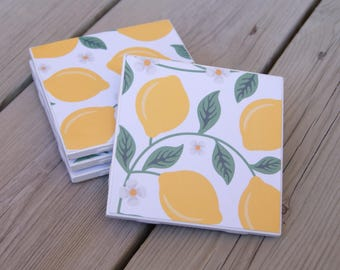 Lemon Tile Coasters with Cork Bottoms/ Set of 4