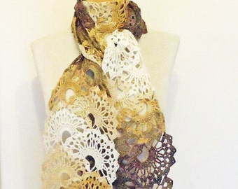 Crochet Lace Women Scarf, Crochet Neckwarmer, Lace Scarf, Women Lace Scarf in white, beige and brown, UK Seller