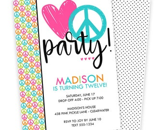 Peace Sign Invitations, Peace Sign Birthday Invites, Peace Sign Birthday Invitations, Peace Sign Birthday, Peace Sign,Peace Sign Party | 438