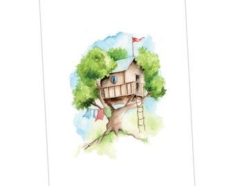 Treehouse Print taken from an Original Watercolour