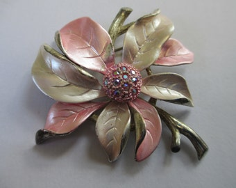 Vintage Apple blossum pink enameled brooch with rhinestone center label pin silver toned  no markings