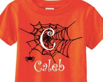 Halloween, Halloween shirt, Personalized halloween shirt, Spider web, Toddler shirt, boy, Name shirt