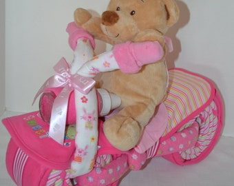 Diaper Cake Motorcycle Bike Diaper Cake, Baby Shower Gift, Centerpiece, Baby Cake,  Baby Girl Gift, Teddy Bear