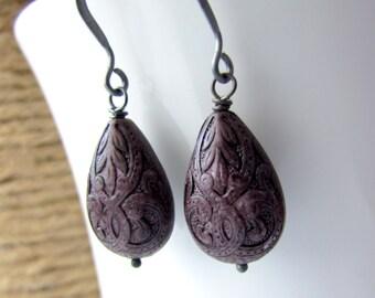 Dark Plum Earrings, Vintage Style Eggplant Purple Earrings, Oxidized Sterling Silver, Simple Teardrop Earrings, Plum Earrings