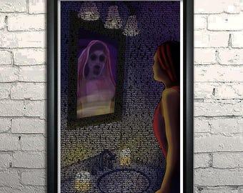 "Bloody Mary Urban Legend FRAMED Typography Art Print 11x17"""