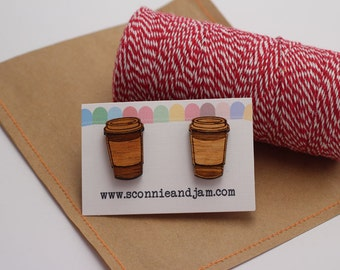 Coffee CupLinks - Wood laser cut cuff links - takeaway coffee cup cufflinks