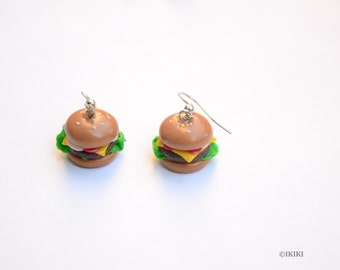 Mini Hamburger Earrings,Polymer Clay Cheeseburger Earrings,Burger Earrings,Cute Food Earrings,Little Burgers,Clay Food Jewelry