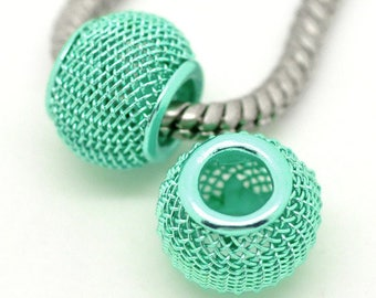 SET of 6 bead fine quality green mesh with water (P40) pandora style
