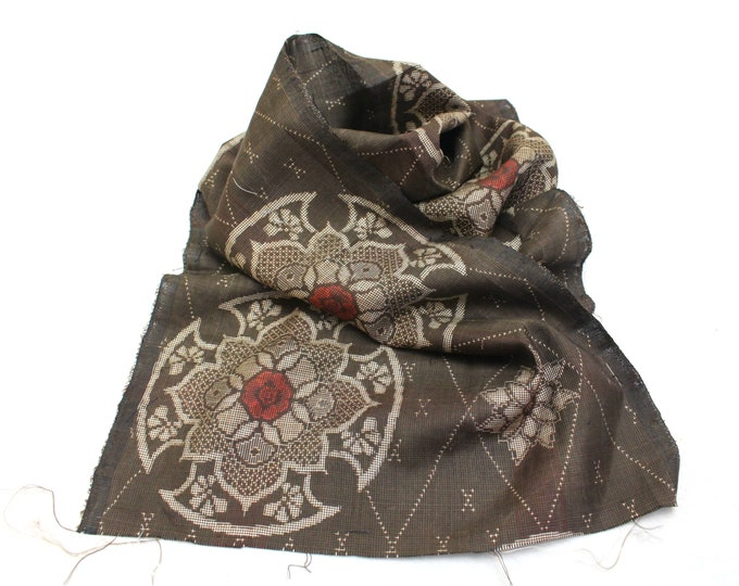 Antique Ooshima Tsumugi Ikat Silk. Japanese Vintage Artisan Fabric. Hand Loomed Textile. Botanical Dye. Brown. (Ref: 1885)