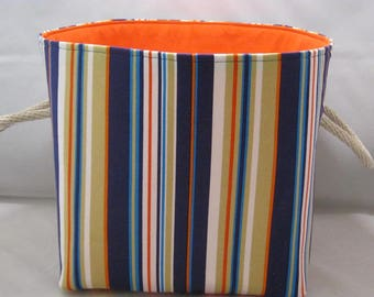 Navy, Orange, Tan And White Striped Fabric Basket With Handles For Storage Or Gift Giving