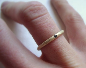 Rough band ring in solid 10k yellow gold with black diamond- wedding ring- engagement ring