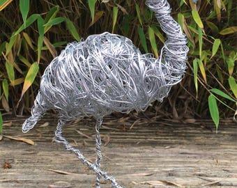 Sculpture Flamingo, wire wrapped, aluminium wire