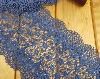 Demi blue 18 cm wide Crochet Look Stretch lace by the meter