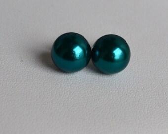 pearl earrings,teal earring,wedding earrings,pearl stud earrings,bridesmaid earrings,pearl jewelry.for wedding party
