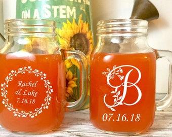 Monogrammed Mason Jar, ENGRAVED Mason Jar, Wedding Gift, Bride Gift, Groom Gift, ENGRAVED Mason Jar, Personalized Gift, Mothers Day Gift