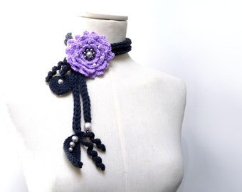 Crochet Lariat Necklace - Lavender, Lilac Flower and Grey Leaves with Glass Pearls - Made to Order - LITTLE PEONY