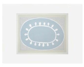 blue silkscreen print, modern, original handmade abstract by Emma Lawrenson