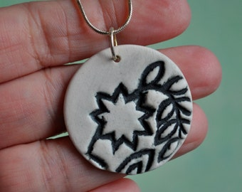 Nine Pointed Star - Porcelain Pendant Necklace in Black and White