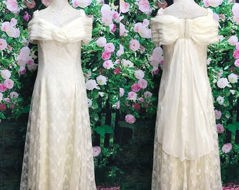 80s wedding dress etsy 80s scott mcclintock cream lace off the shoulder prom wedding gown junglespirit Choice Image
