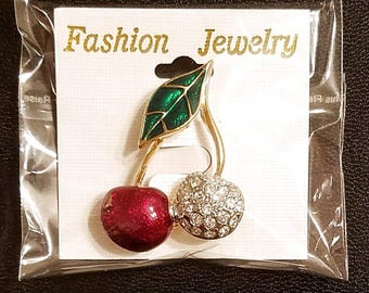 Enamel and Crystal Cherry Brooch Pin